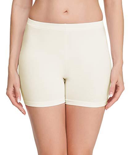 Merry Style Damen Shorts Radlerhose Unterhose Hotpants Kurze Hose Boxershorts aus Baumwolle MS10-392(Ecru,M)