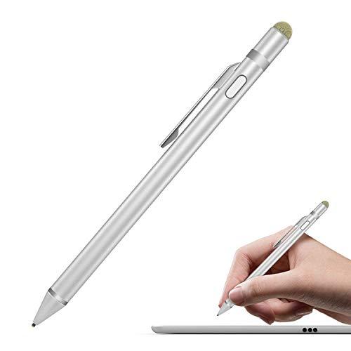 Flybiz Stylus Precisión, Punta Extra Fina 1.45mm Stylus Pen Pluma Capacitiva, Bolígrafo Digital Stylus Recargable para Pantalla Táctil iPhone, iPad, iteléfonos Inteligentes y Tabletas (Plata)