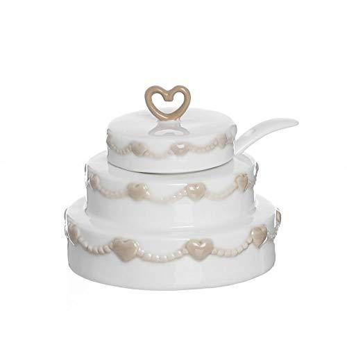Publilancio srl Zuccheriera in Ceramica a Forma di Torta BOMBONIERA