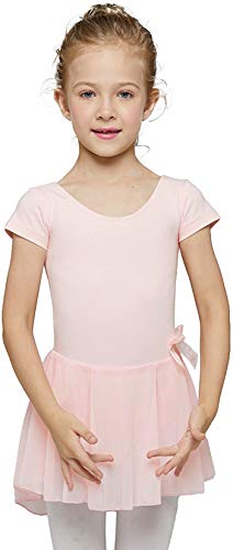 MdnMd Pink Short Sleeve Dance Ballet Leotard for Toddler Girls with Tutu Skirted (Age 2-4 / 2t,3t)