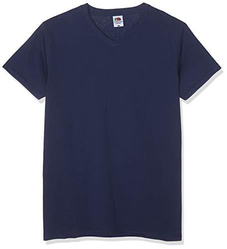 Fruit of the Loom V-Neck Valueweight T-Shirt, Marina Militare, XL (Pacco da 10) Uomo