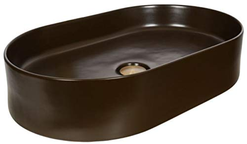 Casa Padrino Jugendstil Waschbecken Matt Braun 61 x 38,5 x H. 12,7 cm - Ovales Keramik Retro Waschbecken - Rustikales Bad Zubehör