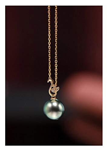DX.PZ Sólido Oro De 18 Quilates Diamante 10-10,5 MM Negro Perla De Tahití Colgante Collar con Oro De 18 Quilates Cadena - Bien Joyería Regalos para Mujeres