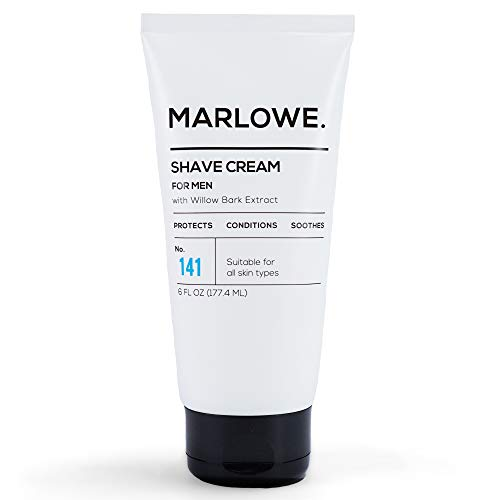 MARLOWE. Shave Cream with Shea Butter & Coconut Oil No. 141 6 oz | Natural Shaving Better than Gel | Men and Women | Light Citrus Scent | Best for a Close Shave | Sensitive Skin Approved