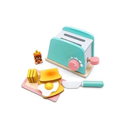 Giochi in Legno Set di Giocattoli da Giocare per preparare e servire Il Pane - in Legno, Accessori da Cucina, 10 Pezzi
