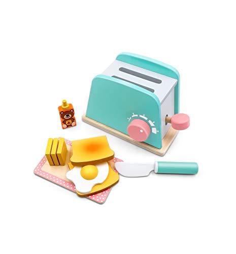 Tiny Land Brot und Butter Toaster Set (10 Stück) - Holzspielzeug und Küchenzubehör - Upgrade Pop-up Brot und Toaster für Kinder