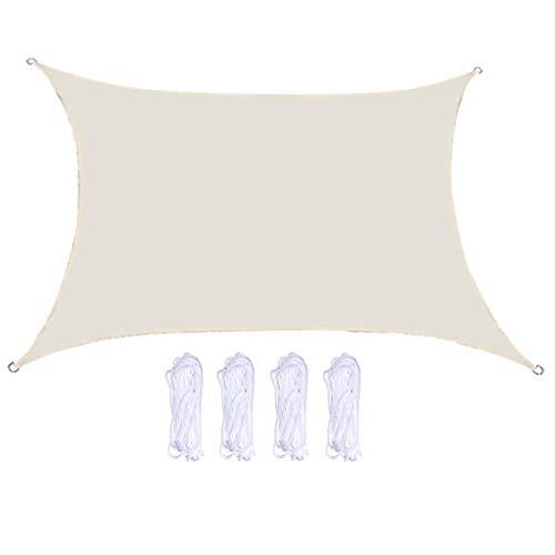 MERIGLARE Práctico Toldo de Patio de Bloque UV de Vela Parasol 3x3x3m para Patio Trasero Al Aire Libre - Blanco, 2x3m