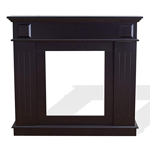baratos y buenos Rebecca Mobili Marco de chimenea decorativo, chimenea de madera negra, estilo moderno, para salón… calidad