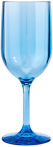 Drinique Stemmed Wine Glass Unbreakable Tritan Stemware, 12 oz (Set of 4), Blue