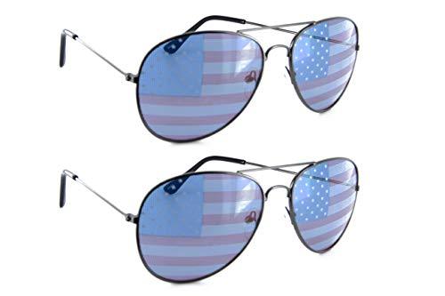 American Flag Aviator Sunglasses Patriotic Glasses Gift Set for Men Women - All Gunmetal
