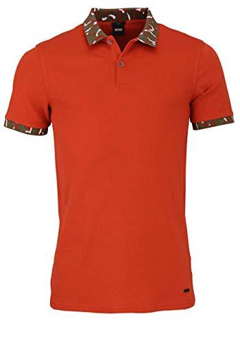 BOSS Halbarm Poloshirt PIXL Polokragen geknöpft Camouflage orange Größe M