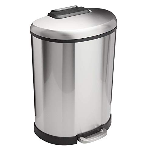 Amazon Basics D-Shaped Soft-Close Trash Can - 50L