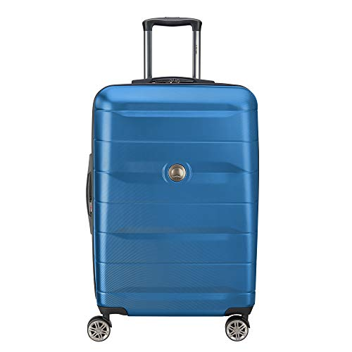 DELSEY Paris Comete 2.0 Hardside Expandable Luggage with Spinner Wheels, Steel Blue, Checked-Medium 24 Inch