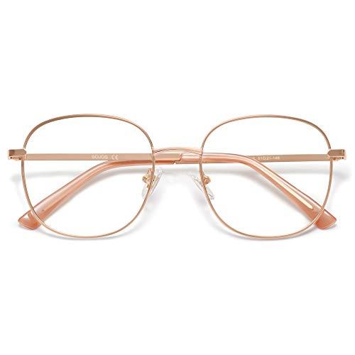 SOJOS Designer Women Blue Light Blocking Glasses Stylish Flat Eyewear AURORA SJ1137 with Rose Gold Frame/Anti-Blue Light Lens