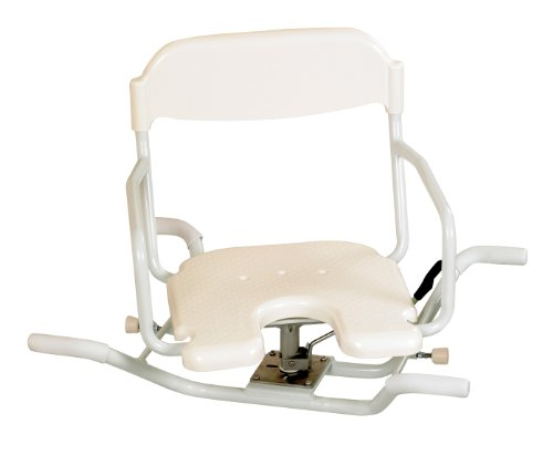 Days Swivelling White Line Bath Seat (Eligible for VAT relief in the UK), Bathing Aid for Handicapped, Disabled, or Elderly, Rotating Seat with Handle, Easy to Get in and Out of the Bathtub