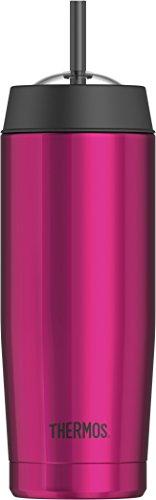 THERMOS 4029.244.047 Isolier-Trinkbecher Cold Cup, Edelstahl Magenta 0,47 l, inkl. Trinkhalm, perfekt für Smoothies oder Eiskaffee, BPA-Free