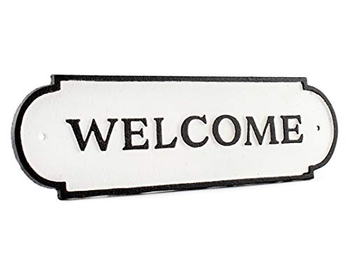 AuldHome Cast Iron Welcome Sign; Rustic Farmhouse Metal Plaque in Black and White 11.9 x 3.6 Inches; Includes Mounting Hardware