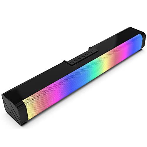 Barra De Sonido con Luz De Color RGB, Bajo Estéreo Control De Volumen AUX De 20 W Y 3,5 Mm con Altavoces De Portátil con Luz RGB Adecuados para TV, Tableta, Proyector, Teléfono