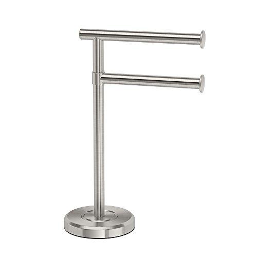 Gatco 1472SN Latitude II Minimalist Bathroom Counter Top 2-Arm Pivot Hand Towel Holder, 12' Height, Satin Nickel