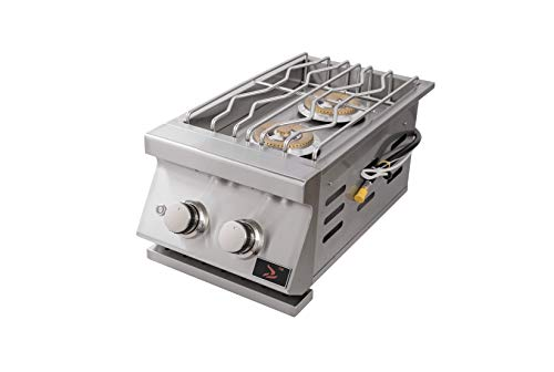 Bonfire Outdoor Kitchen Built-in Double Side Burner for BBQ Island, 304 Stainless Steel, CBADSB