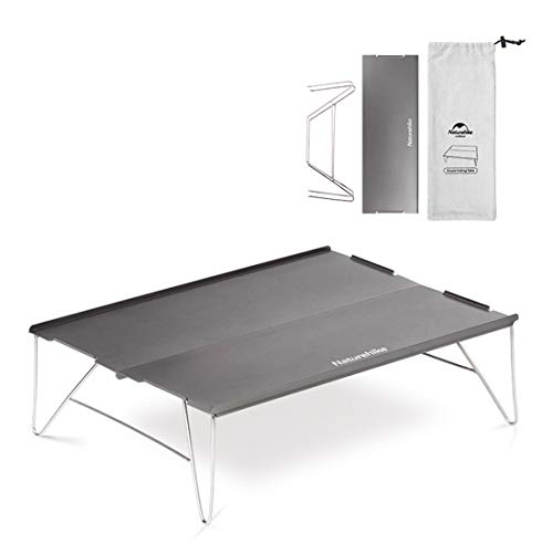Tentock Tragbarer Camping Klapptisch mit Aluminium Tischplatte Falttisch Zusammenklappbar mit Tragetasche für Outdoor Picknick Angeln Strand(Silber)