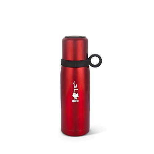 Bialetti To Go Bottiglia Termica con Coperchio-Tazza (con Doppia Parete), Mantiene Il Caldo per 12 h e Il Freddo per 24 h, capacità 460 ml, Acciaio Red, Rosso