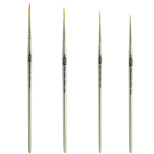 ZEM Brush Golden Taklon Multi Media Long Liner Artist Brush Set 20/0, 10/0, 5/0, 0