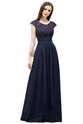 MisShow Abendkleid Elegant Lang Konfirmationskleid Farbe Blau Weinrot