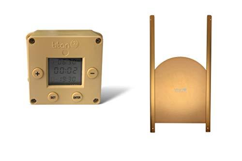 Titan Incubators Cube Abrepuertas Automático para Gallinero con Temporizador + Puerta Curva de Metal