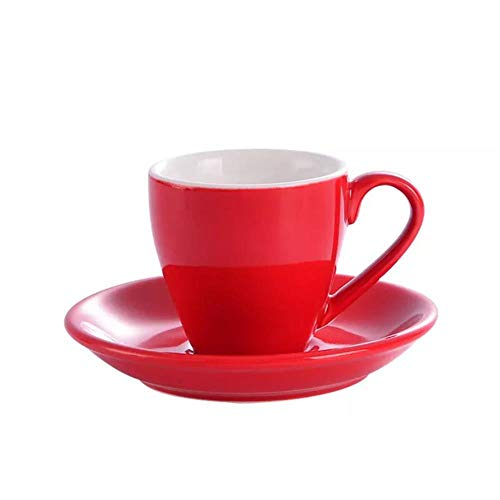 SUXIAO Porzellan Espressotassen mit Untertassen - 2,5 Unzen Espressotassen Untertassen Set Mokka Cappuccino Tee Kaffeetassen Tablett, rot,