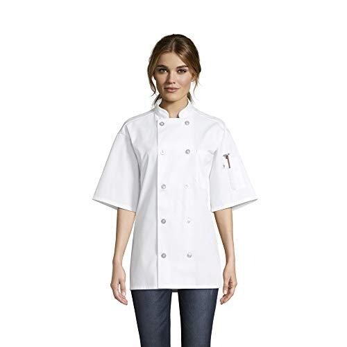 Uncommon Threads Unisex South Beach Chef Coat Short Sleeves, White, Large