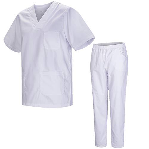 MISEMIYA - Uniformi Unisex Set Camice ? Uniforme Medica con Maglia e Pantaloni Uniformi Mediche Camice Uniformi sanitarie - Ref.8178 - Medium, Bianco