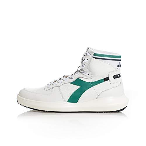 Diadora Heritage, Mi Basket H Leather MDS, Scarpe, Sneaker Unisex, Stivaletto (White/Green, Numeric_44)