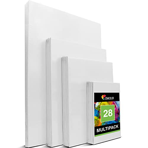 Zenacolor - Set de 28 Canvas - Laminas para Pintar Multisizes - 13x18, 20x25, 24x30, 30x40-100% Algodón sin �cidos - Todos los tipos de Pintura sobre Lienzos