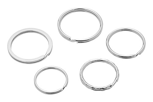 Wedo 26230015 Schlüsselringe Metallringe Sortiment in verschiedenen Größen sortiert, 15 Stück, silber