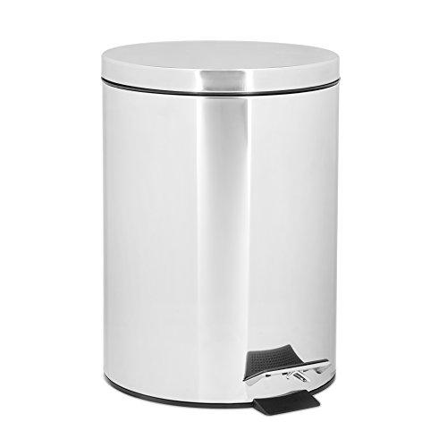 Preisvergleich Produktbild Relaxdays Treteimer 5 Liter,  runder Mülleimer mit Pedal und Inneneimer,  Edelstahl,  HxBxT: 27 x 20, 5 x 23, 5 cm,  silber