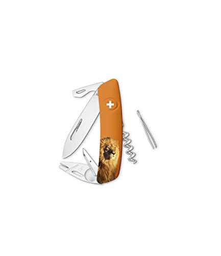 SWIZA Taschenmesser TT03, Tick Tool, Stahl 440, rostfrei, Sperre, orangefarbene Schalen, Löwenmotiv, 11 Funktionen, Mehrfarbig, normal