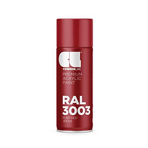 CL COSMOS LAC Sprühlack rot, glänzend - Spraydosen Sprühfarbe DIY Lack Acryllack Spray Farbspray Sprühdose Lackspray Farbe für Kunststoff, Metall, UVM. (RAL 3003 - rubinrot)