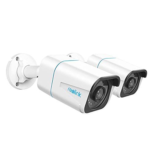 Reolink 2 Stück 4K Smarte PoE IP Kamera Outdoor mit Personen-/Autoerkennung, 8MP Überwachungskamera Aussen mit Micro SD Kartensteckplatz, 30m IR Nachtsicht, IP66, Zeitraffer, Fernzugriff, RLC-810A