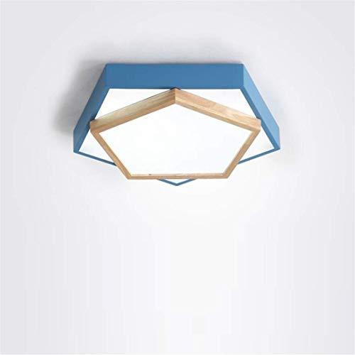 Plafondlamp plafond lampen Scandinavische Stijl Eenvoudige Licht Pentagon Geometry Creatieve Vreemde Blauwe Led Kleine Woonkamer Lamp Hout Mode Slaapkamer Kids Kinderkamer Lamp, MTT