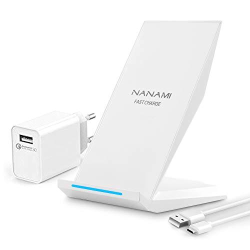 NANAMI Fast Wireless Charger, Qi Ladegerät (mit Quick Charge 3.0 Adapter)für iPhone 11/X/XS/XS Max/XR/8/8 Plus,10W Schnelles kabelloses Ladegerät Induktive Ladestation für Samsung Galaxy S20 S10 S9 S8