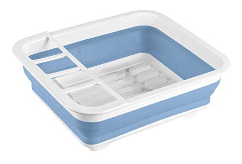 WENKO Geschirrabtropfer Gaia faltbar Blau/Weiß - Geschirr-Abtropfständer, Abtropfgestell für Geschirr und Besteck, Polypropylen, 36.5 x 13 x 31 cm, Weiß