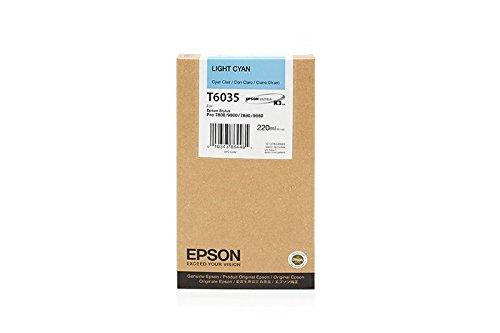 Epson - Cartucho de Tinta Original Compatible con Epson Stylus Pro 7880, T6035, T603500 C13T603500, 220 ML, Color Cian Claro