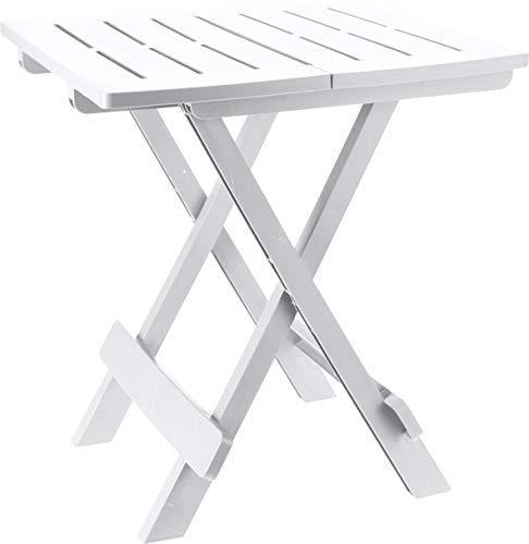 Spetebo Klapptisch Adige - Kleiner Garten- oder Campingtisch - ideal als Beistelltisch (Weiß)