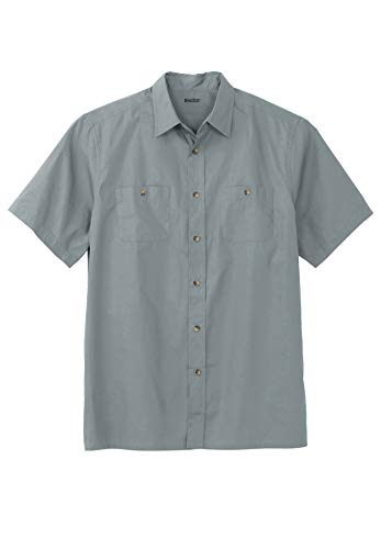 KingSize Men's Big & Tall Short-Sleeve Pocket Sport Shirt - Big - 9XL, Gunmetal Silver