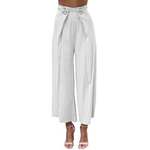 Lazzboy Mädchen Vintage zerrissene Damen hoch taillierte Hose Denim Shorts Hot Pants Damen Haremshose Elegant Pumphose Lange Leinen mit Gürtel Aladin Pants(Weiß,4XL)