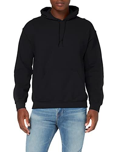 GILDAN Men's Heavyweight Hooded Sweatshirt Hoodie, Black, L UK
