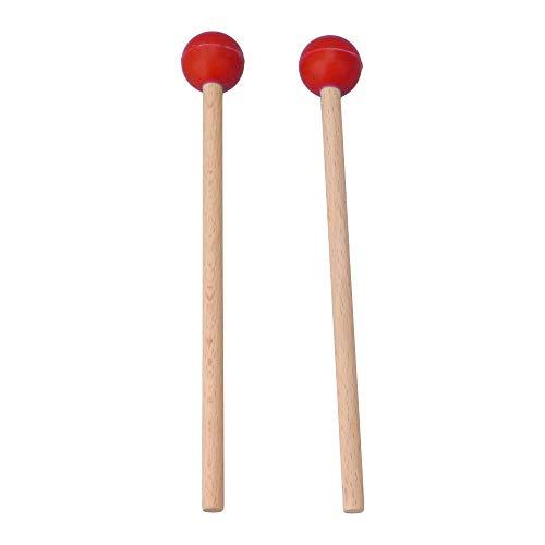 Yibuy Mazo de goma roja para instrumentos de percusión, 2 unidades, para marimba
