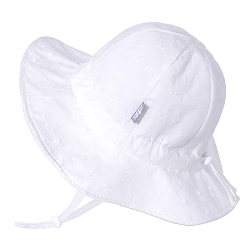 Jan & Jul Girls Breathable Sun-Hat 50 UPF, Size Adjustable, Stay-on Tie (XL: 5-12Y, White Daisy)