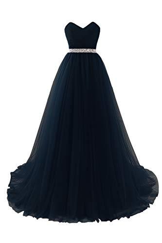 MisShow Abendkleider lang Damen elegant Tüll Büstier Abendkleider Ballkleider Abschlusskleider Maxilang Kleider Navyblau 32